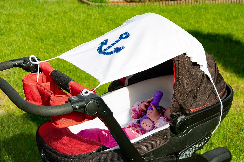 Wei/ß//ANKER Amilian Sonnensegel f/ür jeden Kinderwagen universal UV-Sonnenschutz f/ür Baby luftdurchl/ässig mit Applikation
