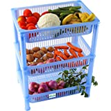 NOVICZ 3 Layer Kitchen Rack Stand Fruits Vegetable Rack Storage Household Office Rack Storage Stand - Blue