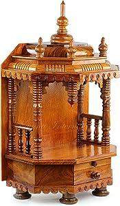 Premium Hand Made Wooden Temple | Wooden Indian Mandir | Sheesham Wooden Madir | Nagina International (Small Rosewood)