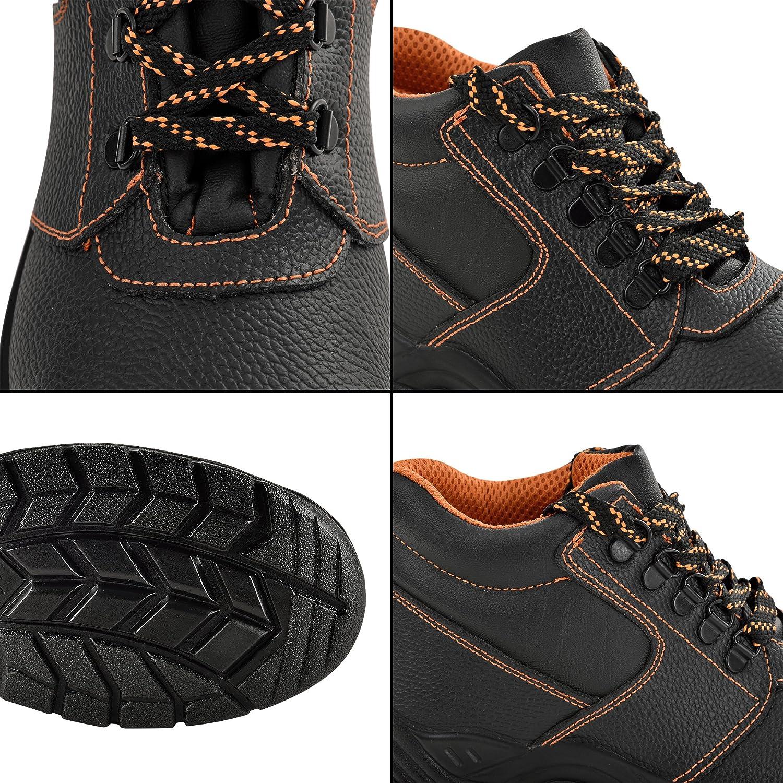 [pro.tec] Botas de Seguridad - 46 - S3 - hidrofugadas - con Puntera de Acero - Botas cómodas para Trabajar - Calzado de Seguridad - Negro/Naranja: ...