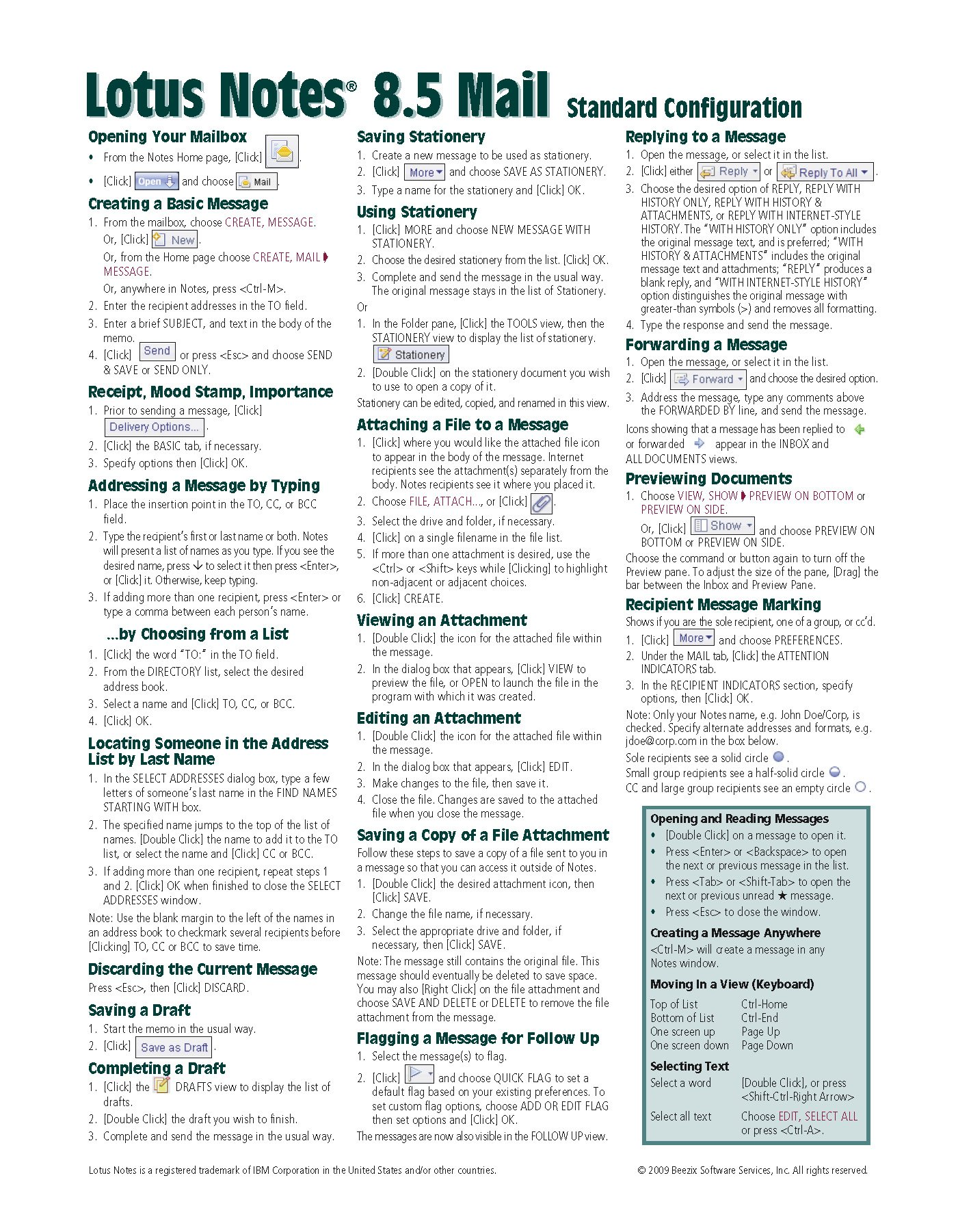 Lotus Notes 8.5 Mail Quick Reference Guide (Cheat Sheet of Instructions,  Tips & Shortcuts - Laminated Card): Beezix Inc.: 9781936220038: Amazon.com:  Books
