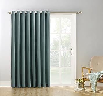 Sun Zero Easton Blackout Patio Door Curtain Panel, 100u0026quot; X 84u0026quot;,  Mineral