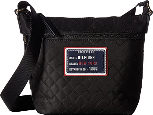 c7e2ca73b5f Tommy Hilfiger Women s Nylon Patch Mini Convertible Quilt Hobo Black One  Size