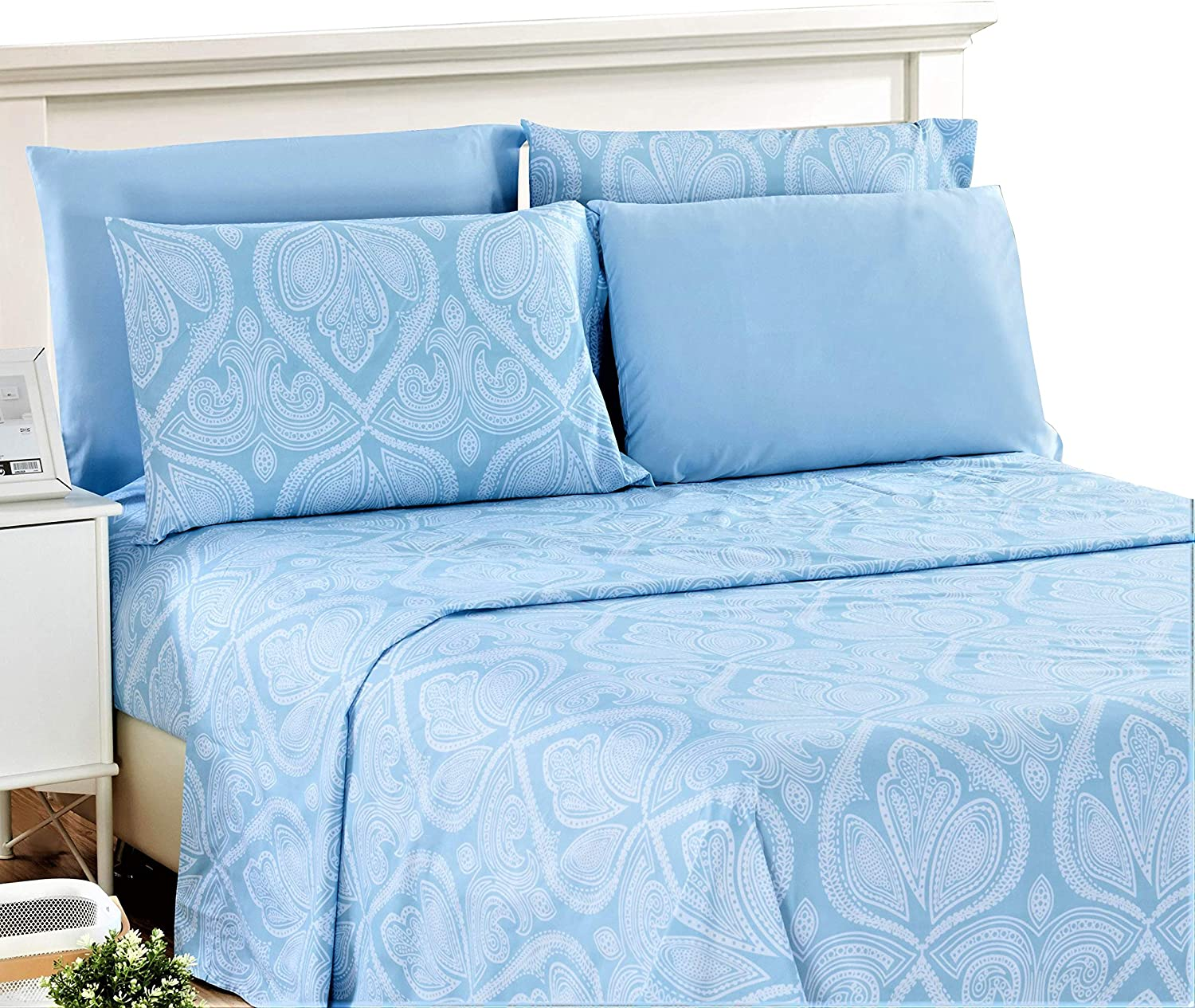 Lux Decor Collection Bed Sheet Set - Brushed Microfiber 1800 Thread Count Bedding - Wrinkle, Stain, Fade Resistant & Hypoallergenic - Deep Pocket King Size Sheets Set - 6 PC (King, Paisley Blue)