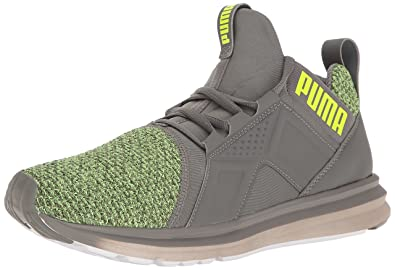PUMA Mens ENZO Knit Cross-Trainer Shoe Quiet Shade/Safety Yellow 8 ...