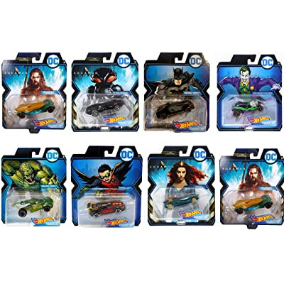 Assorted Bundle of 7 DC Universe Comics Character Car Vehicles Featuring Hot Wheels The Joker Black Manta Aquaman Batman Killer Croc Robin Mear Die Cast Exclusive Collectibles: Toys & Games