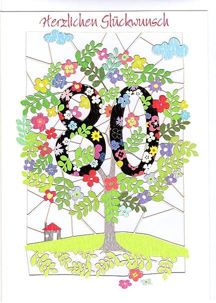 excepcional tarjeta de felicitación para 80 cumpleaños ...