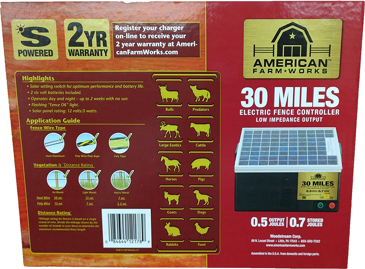 American FarmWorks 15-Mile Battery Operated Low Impedance Fence Charger,