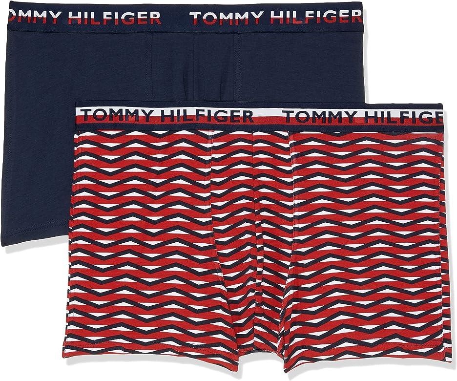 Tommy Hilfiger 2-Pack Logotipo Rayas De La Cintura De Los Hombres del Boxer, Rojo/Marino Grande: Amazon.es: Ropa y accesorios