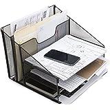 Desktop File & Letter Organizer Metal Paper Sorter Tray For Notes, Papers, Books & Folders