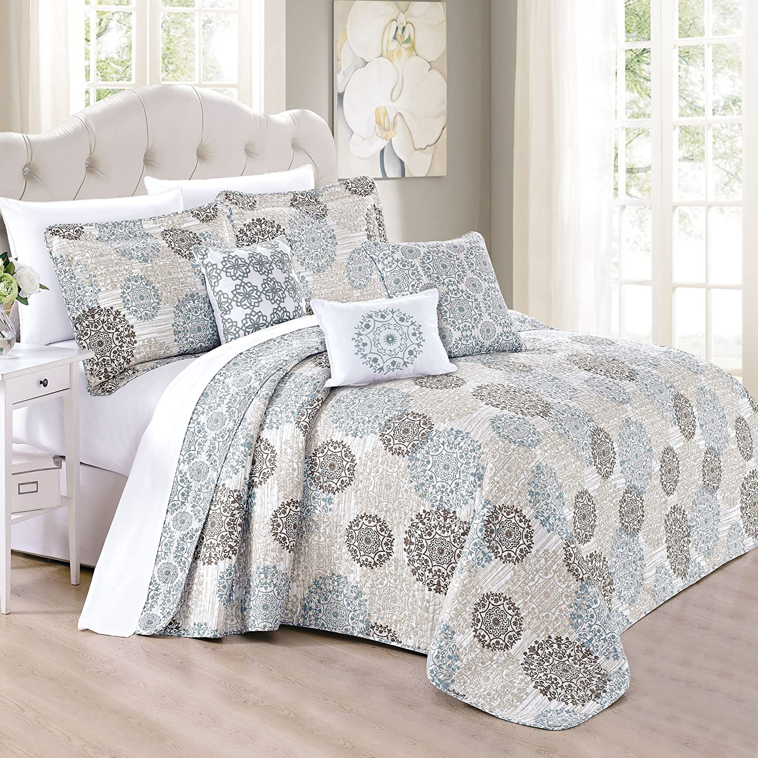Home Soft Things Marina MDLN Bedspread, Queen, Khaki/Blue/Brown