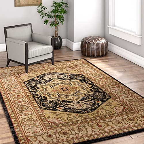 Well Woven Charlotte Black Southwestern Gabbeh Navajo Medallion Area Rug 8 x 10 7'10″ x 9'10″ Thick Soft Shed Free Easy to Clean Stain Resistant