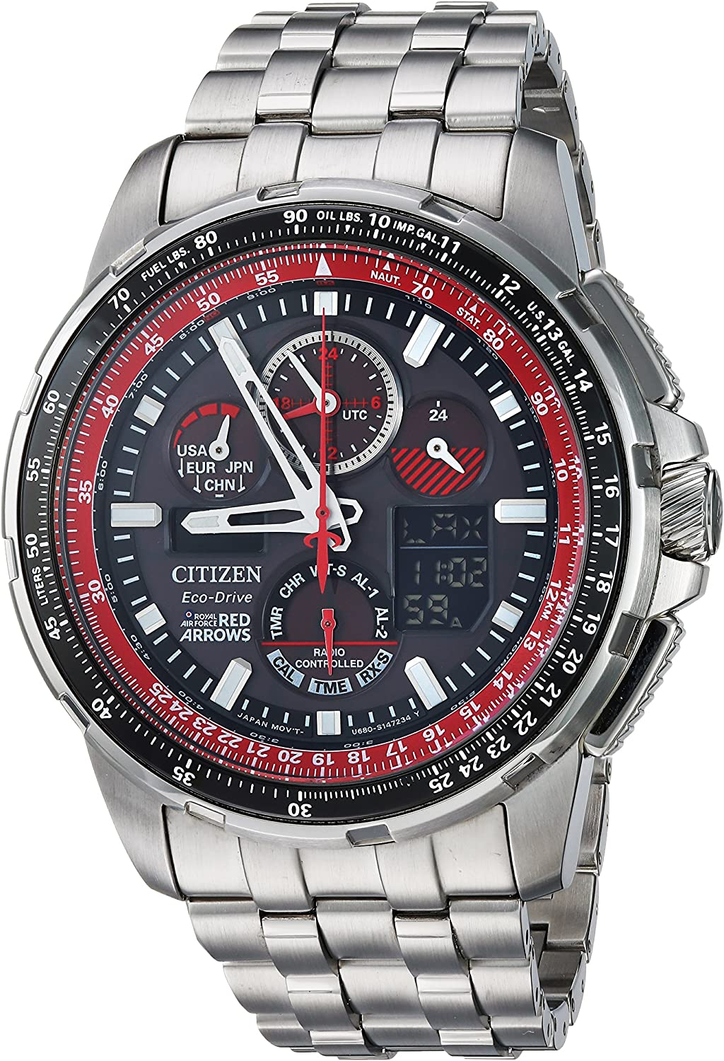 Citizen Men s Eco-Drive Japanese-Quartz Aviator Watch with Stainless-Steel Strap, Silver, 23 Model JY8059-57E