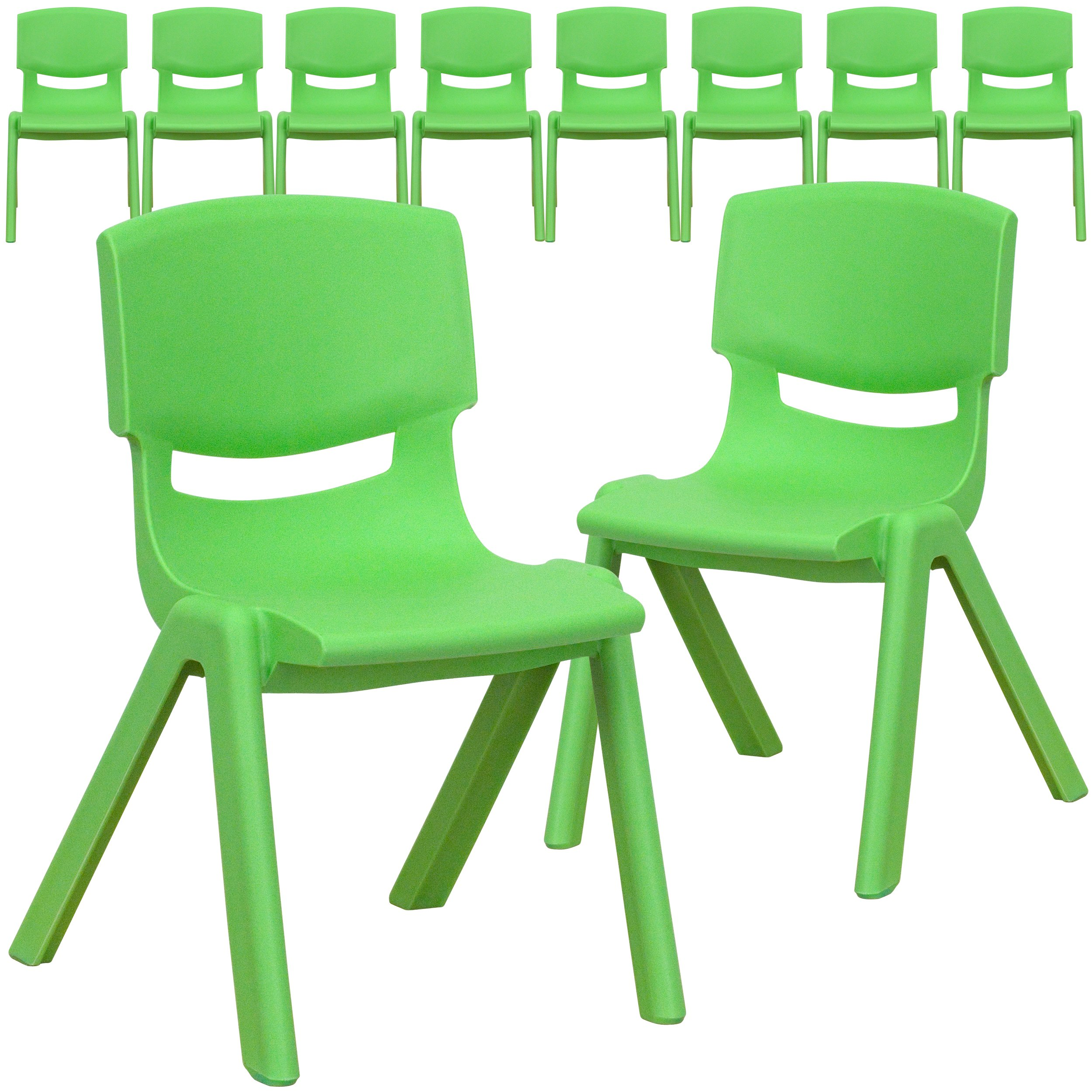 Flash Furniture 10 Pk. Green Plastic Stackable School Chair with 12'' Seat Height by Flash Furniture