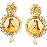Bindhani Bollywood Style Chandbali Gold Plated Padmavati Kundan Indian Earrings For Women