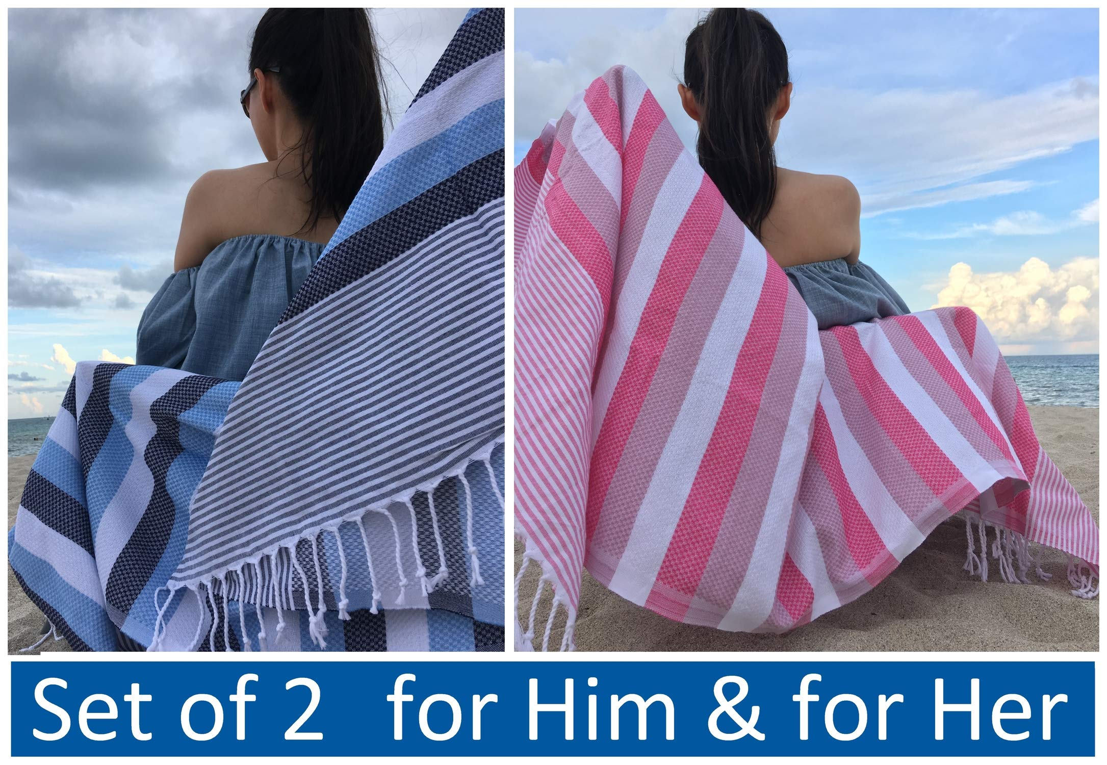 Lux Oversized 40x75 Very Absorbent Cotton Beach Towel W/Hidden Zipper Pocket 100% Natural Turkish Cotton XL - Sand Free Lightweight Quick Dry | Poolside Sunbed Throw Boys Girls (Aqua Blue+Sugar Pink)