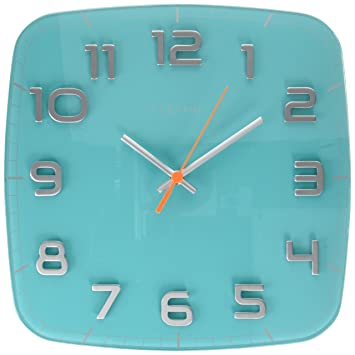 NeXtime Classy Square Wall Clock Glass Turquoise Amazoncouk