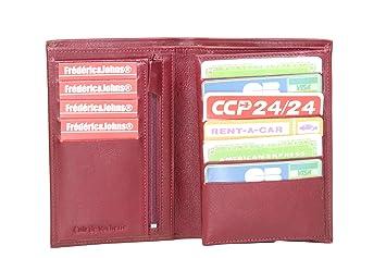 Frédéric Johns® - Grand portefeuille en cuir de vachette véritable très pratique avec 4 volets - 10 emplacements pour cartes - cuir grainé souple qualité - homme ou femme - Idée cadeau (Violet) GTaQBGQH
