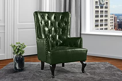 Charmant Upholstered Living Room Tufted Leather Armchair, Accent Chair With  Nailheads (Green)