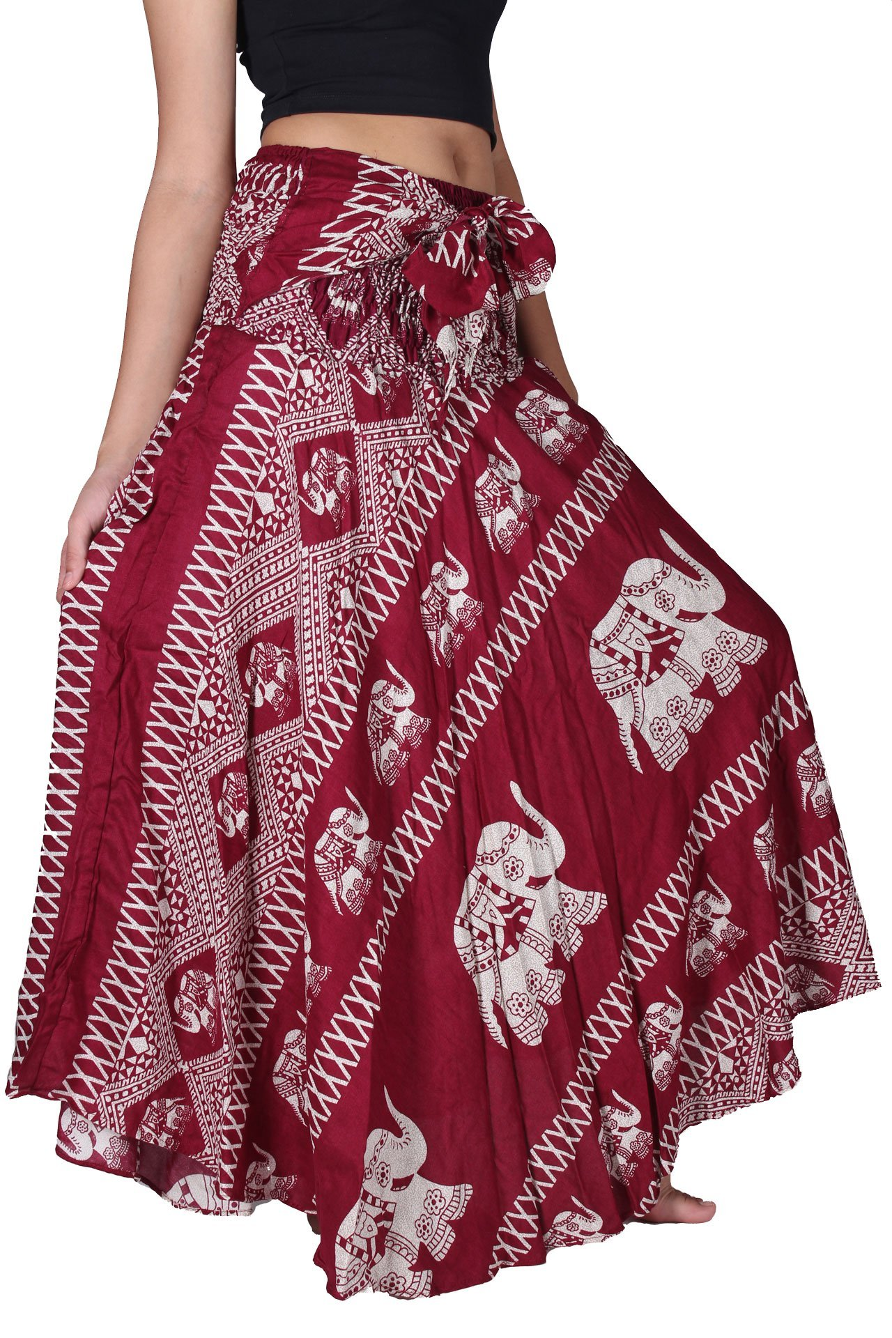 Bangkokpants Women's Long Bohemian Hippie Skirt Boho Dresses Gypsy Clothes Elephant One Size (Red, One Size)