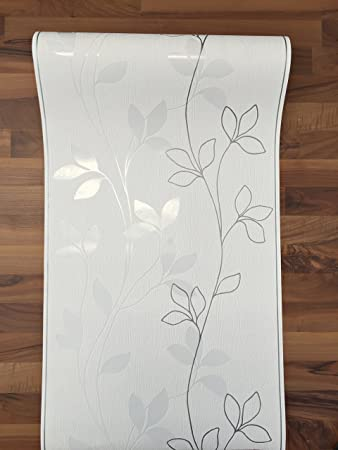 Tapete weiß silber  Vlies Tapete Rasch home style weiß silber grau streifen floral ...