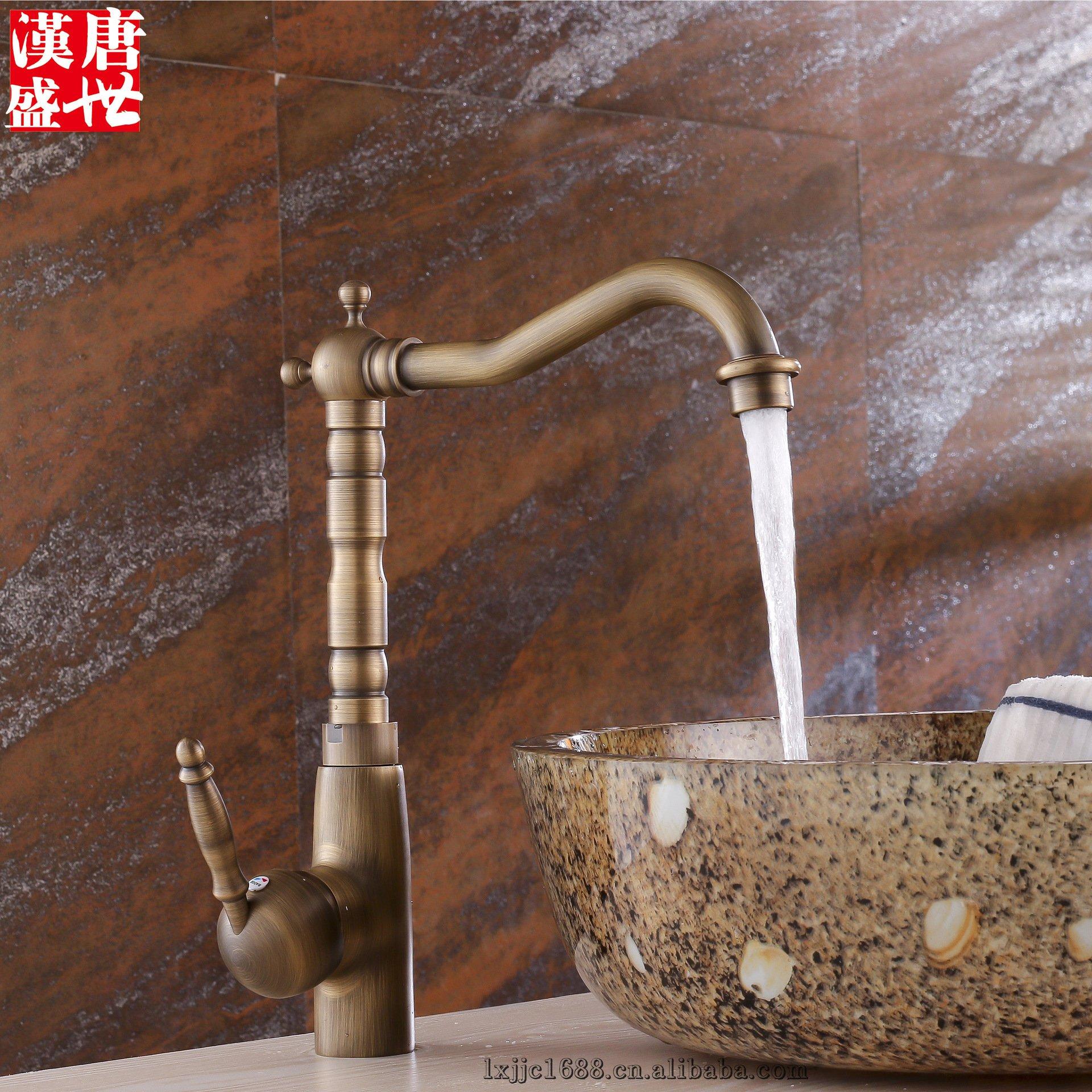 Furesnts Modern home kitchen and Bathroom Sink Taps all bronze continental antique kitchen sink hot cold running water Basin sink Basin Mixer Bathroom Sink Taps,(Standard G 1/2 universal hose ports)