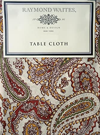 Raymond Waites Fabric Tablecloth Rust Orange Green Fall Autumn Paisley  Pattern On Cream Ivory Background 60
