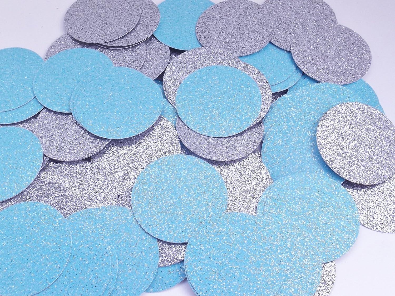 Light Blue and Silver Glitter Paper Confetti Circles - Party Decoration - 1, 15, 2 Inch Confetti Circles - 200 Pieces