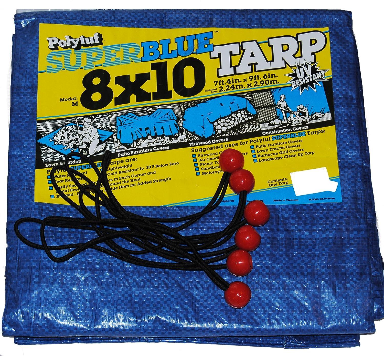 Polytuf Super Blue Tarp 8 x 10 and and 6 Bungee Balls Berts Garden