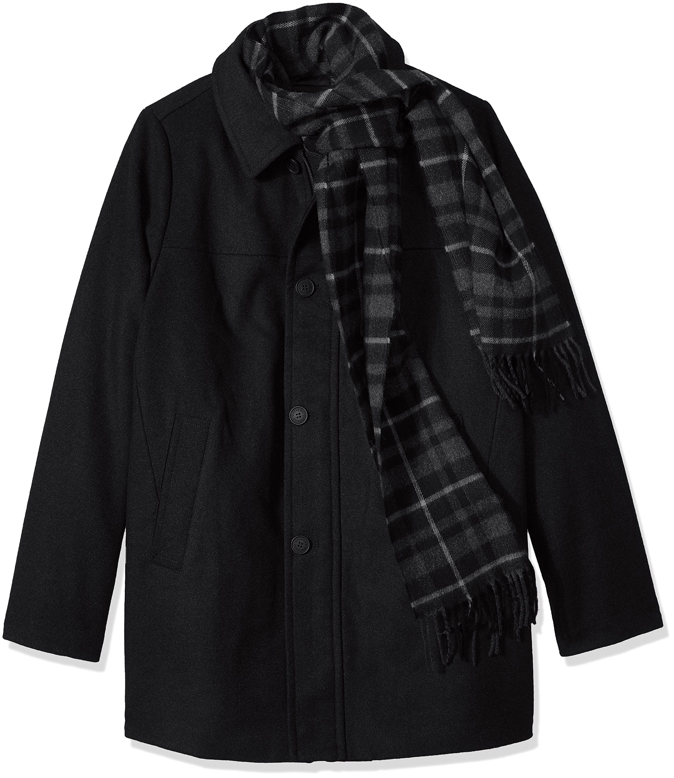 Dockers Men's Size Big Weston Wool Blend Car Coat with Scarf, Black, 2X-Large Tall by Dockers
