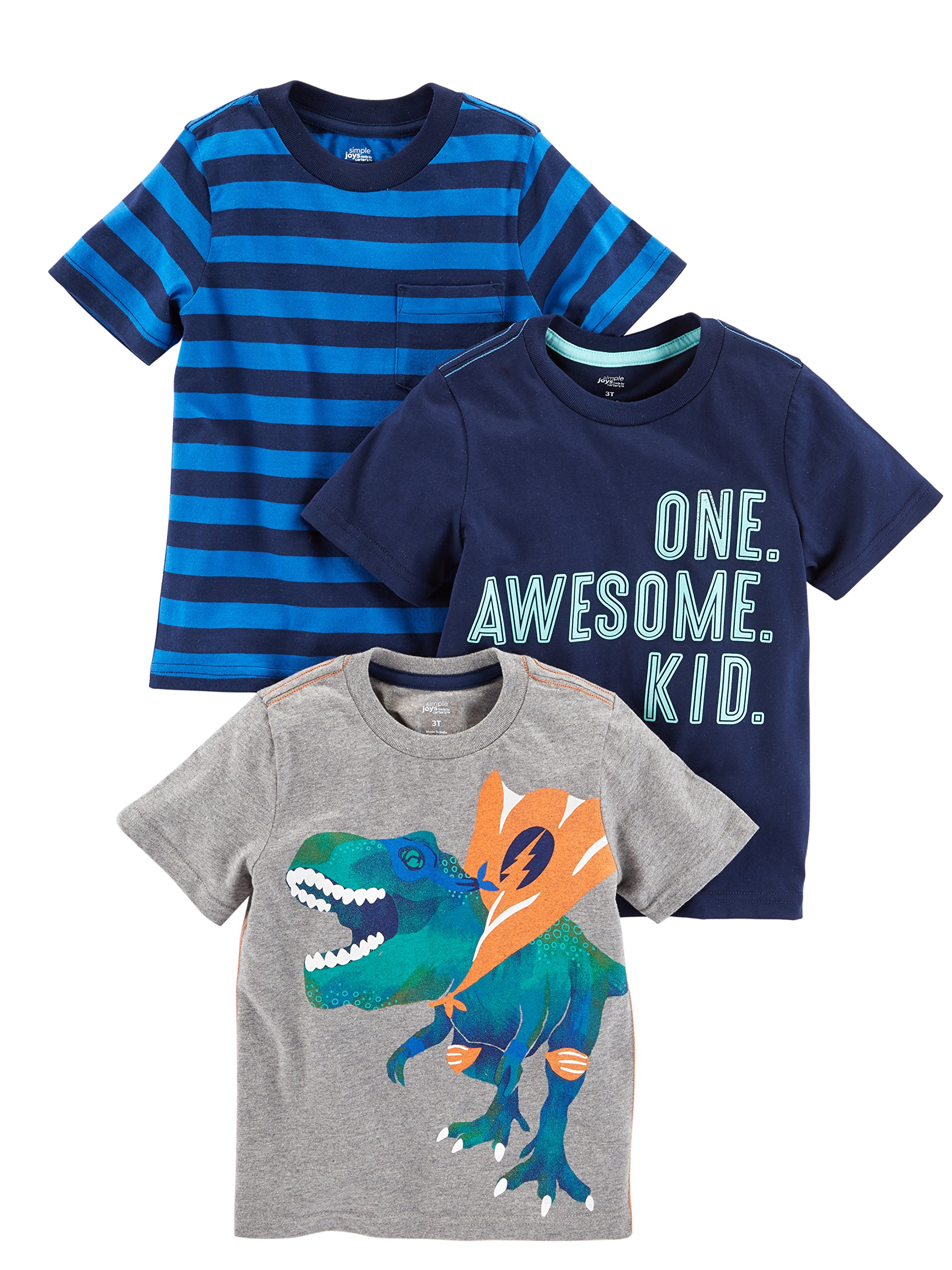 Simple Joys by Carter's Baby Boys' Toddler 3-Pack Graphic Tees, Awesome, Stripe, Dino, 2T
