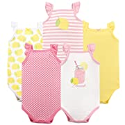 Hudson Baby Unisex Baby Sleeveless Cotton Bodysuits, Lemonade 5-Pack, 9-12 Months (12M)