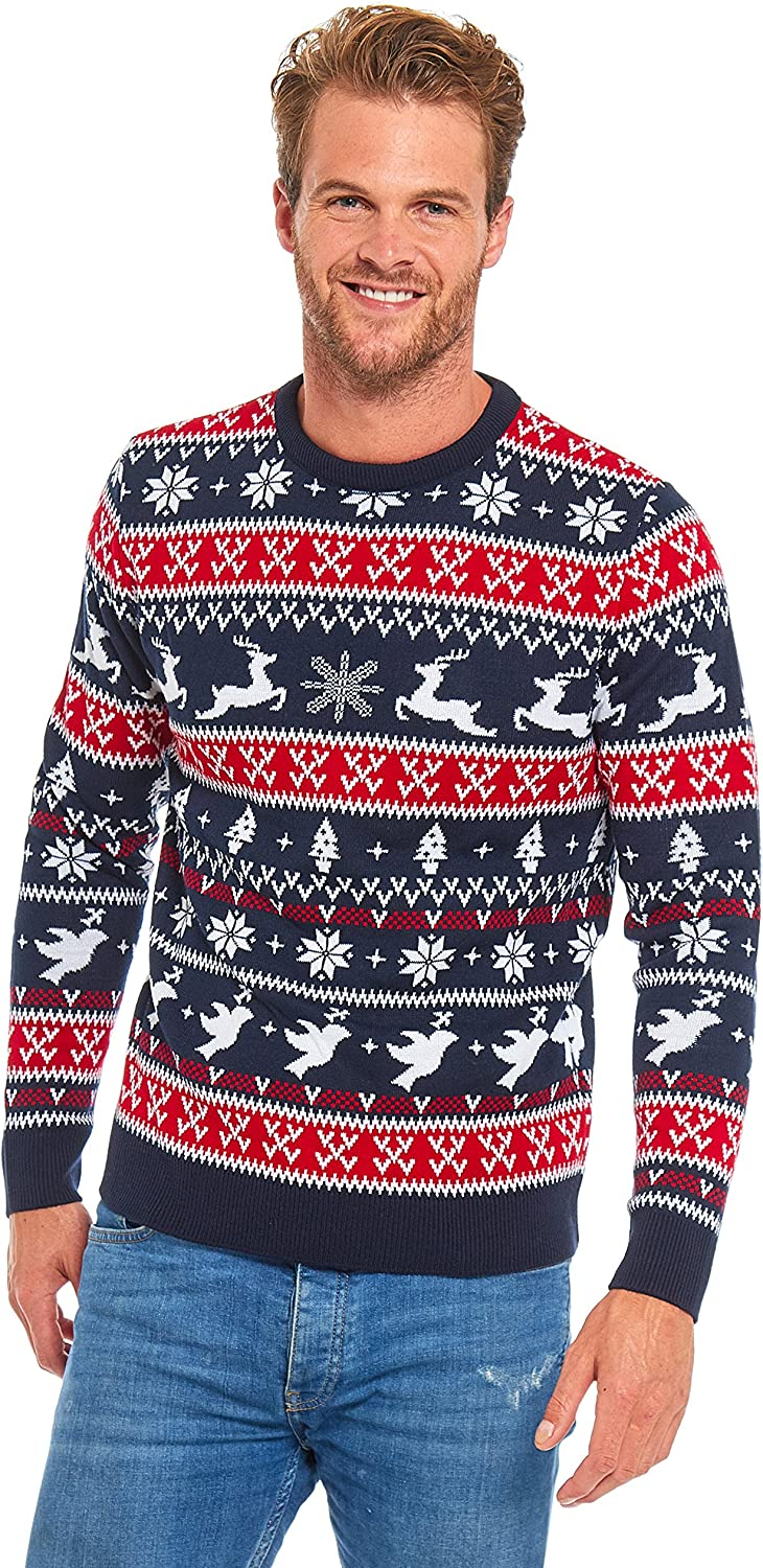 Unisex Mens Ugly Christmas Sweater Knitted Reindeer Classic Fair Isle Ugly Sweater