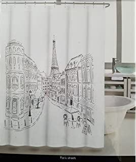 Tahari Paris Street Shower Curtain With Eiffel Tower Black And White