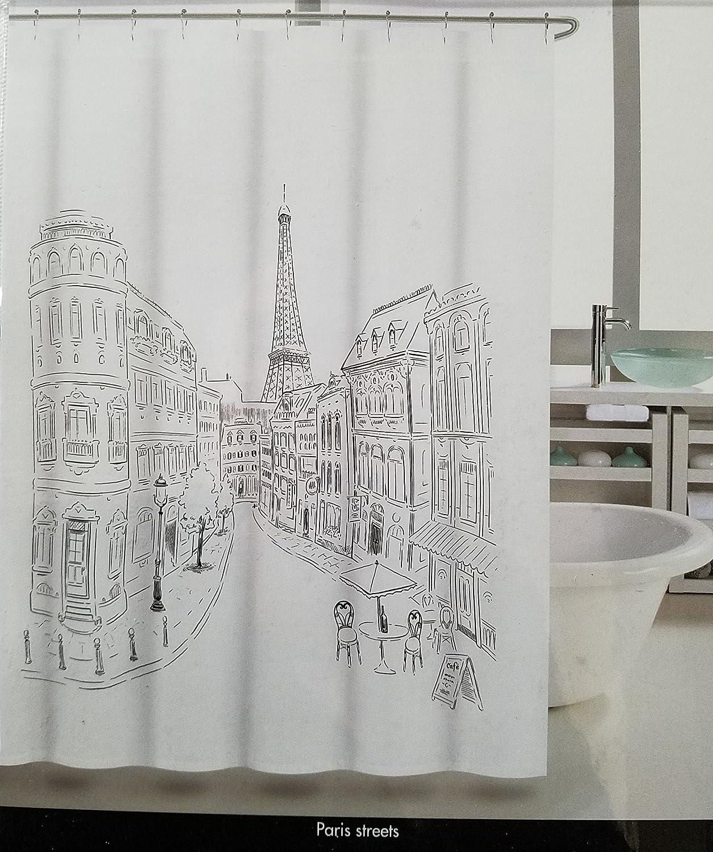 050effa4ef87 Amazon.com: Tahari Paris Street Shower Curtain with Eiffel Tower ...