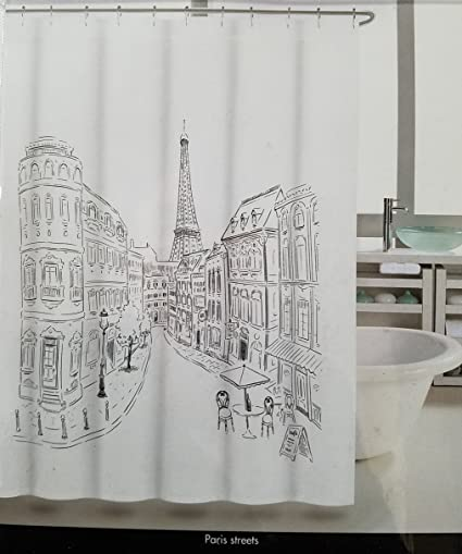 Image Unavailable Not Available For Color Tahari Paris Street Shower Curtain With Eiffel Tower Black And White