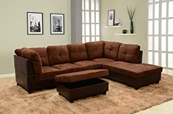 Peachy Beverly Fine Furniture Andes Microfiber Leather Sofa Set With Ottoman Brown Ncnpc Chair Design For Home Ncnpcorg