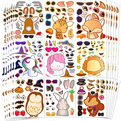 Sinceroduct Make Your Own Stickers,Woodland Teaching Stickers, Make-a-Face Stickers, 100 Pack Party Favor Stickers with 20 Animal Designs, Unique Stickers, Perfect as Reward&Gift for Kids: Arts, Crafts & Sewing