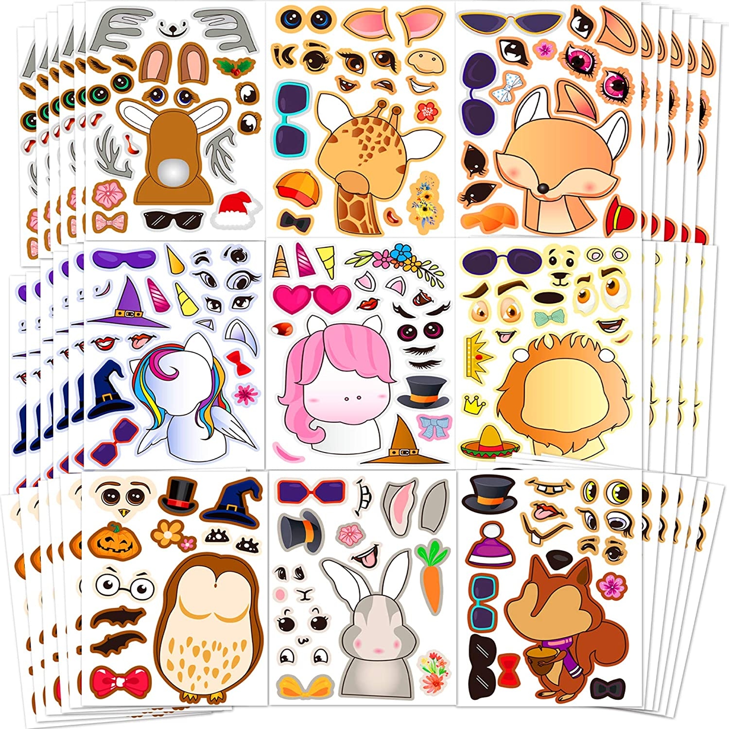 Sinceroduct Make Your Own Stickers,Woodland Teaching Stickers, Make-a-Face Stickers, 100 Pack Party Favor Stickers with 20 Animal Designs, Unique Stickers, Perfect as Reward&Gift for Kids