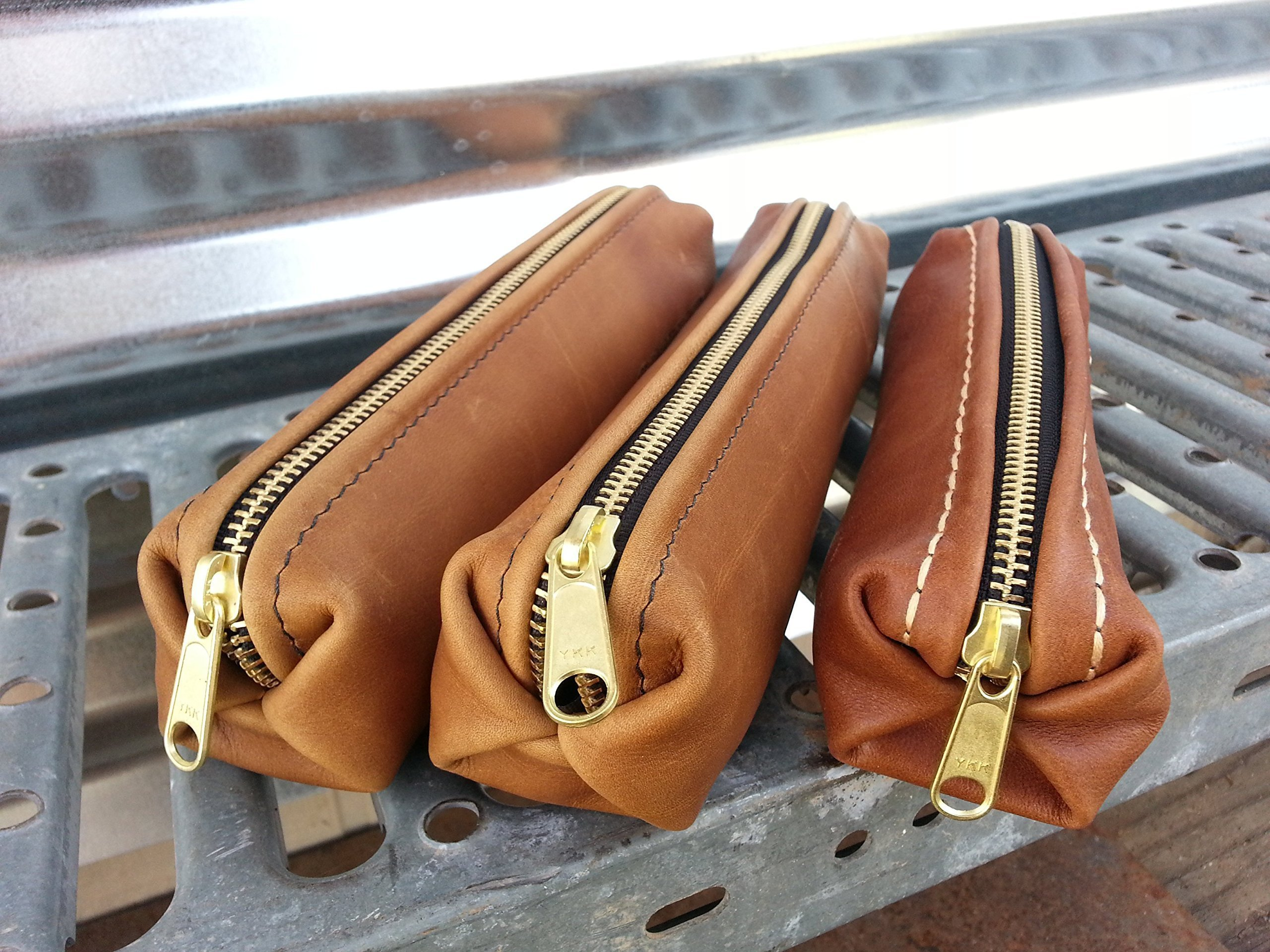 Leather Pleated End pencil case by Marble Hill Design Studio
