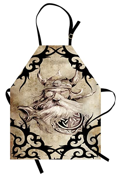 d6aebb0fb Lunarable Viking Apron, Tattoo Pattern with Ancient Viking Warrior  Silhouette Bearded Figure Vintage Effect,