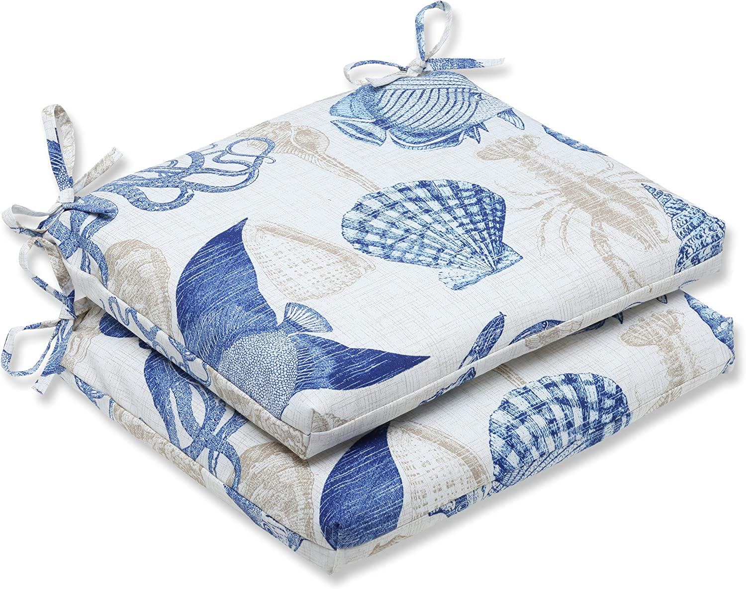 Pillow Perfect Outdoor Sealife Marine Squared Corners Seat Cushion, Set of 2