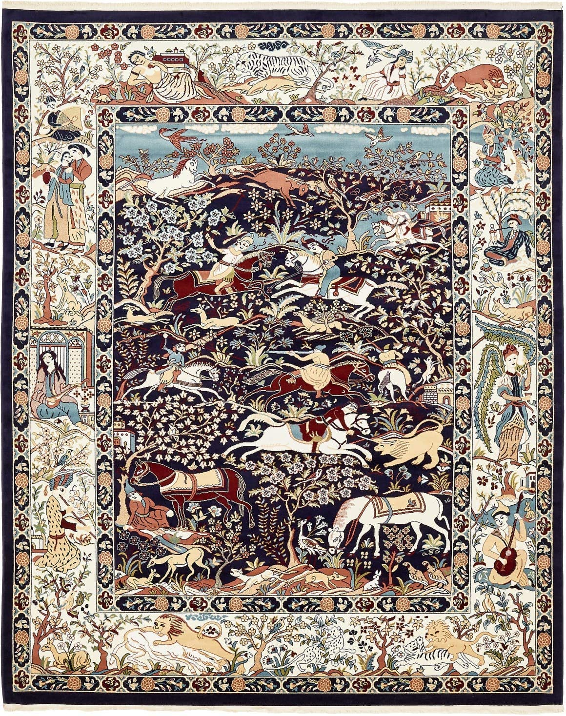 Unique Loom Narenj Collection Classic Traditional Hunting Scene Textured Navy Blue Area Rug 8 0 x 10 0