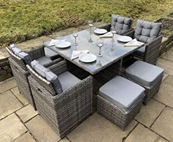 Amazon.de: Luxus Grau Rattan Gartenmöbel 9 Teiliges Cube Set.