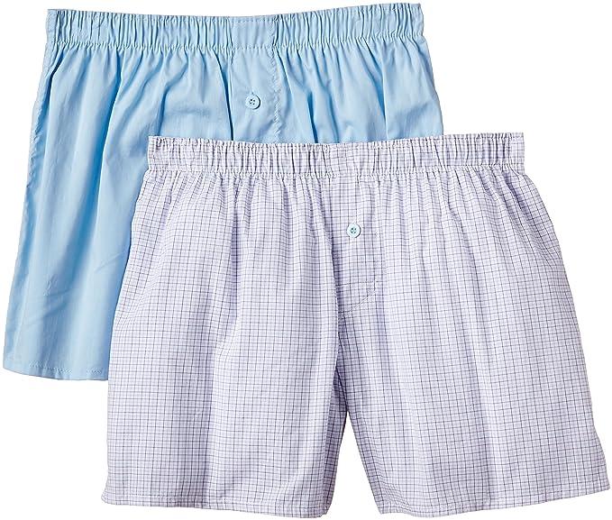Unno Boxer Tela Para Hombre - Pack x2, color azul celeste / cuadros, talla