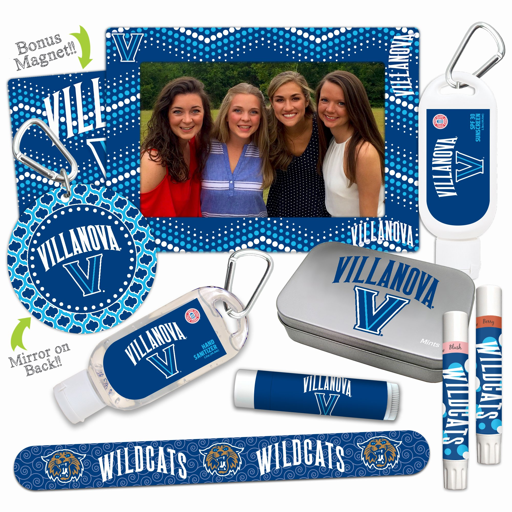 NCAA Villanova Wildcats Platinum Variety Set- with 2 Lip Shimmers, Lip Balm SPF 15, Nail File, Mirror, Sanitizer, Lotion, Mint Tin, Magnetic Picture Frame. Ideal gift for Mother's Day. Basketball.