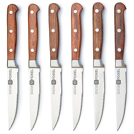 Amazon.com: Juego de 6 o 12 cuchillos de carne de acero ...