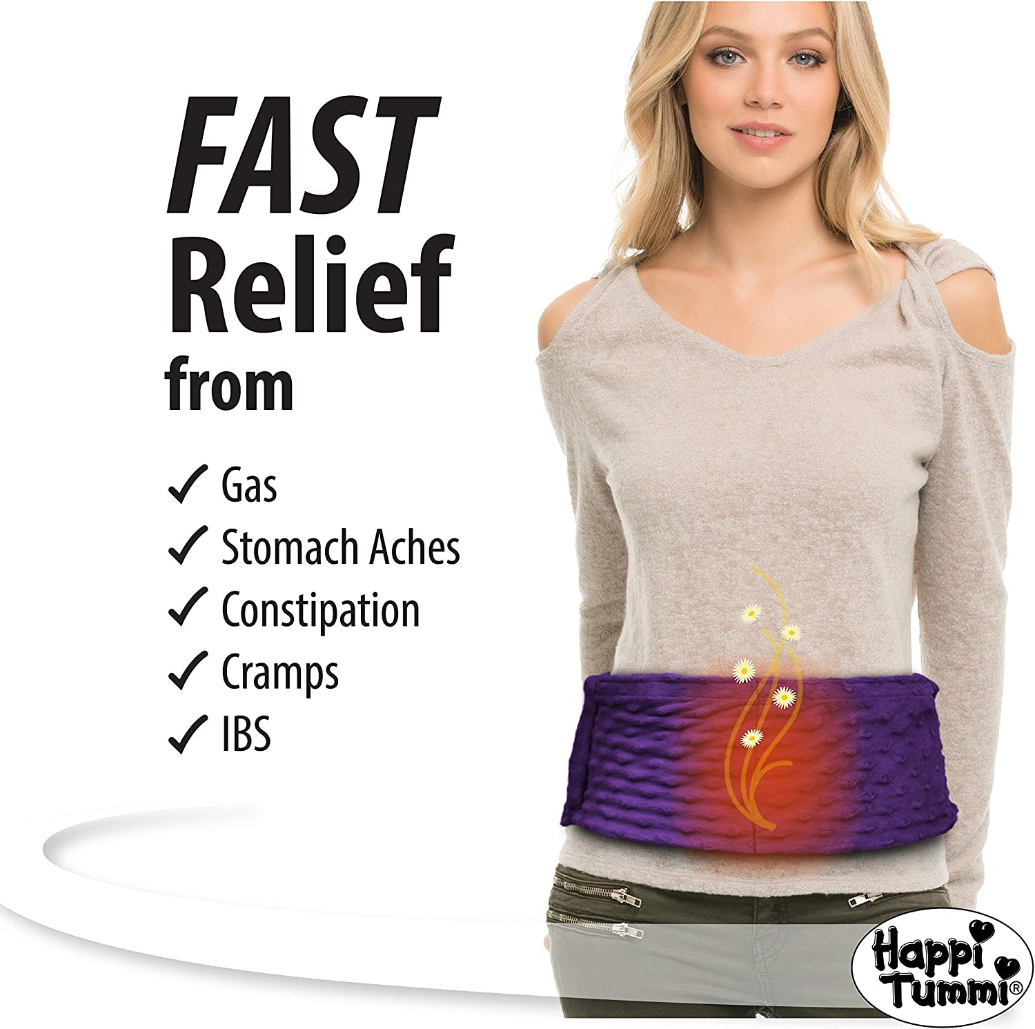 Happi Tummi - Menstrual Cramp Relief Natural Soothing Herbal Aromatherapy and Heating Pad - Medium Lavender