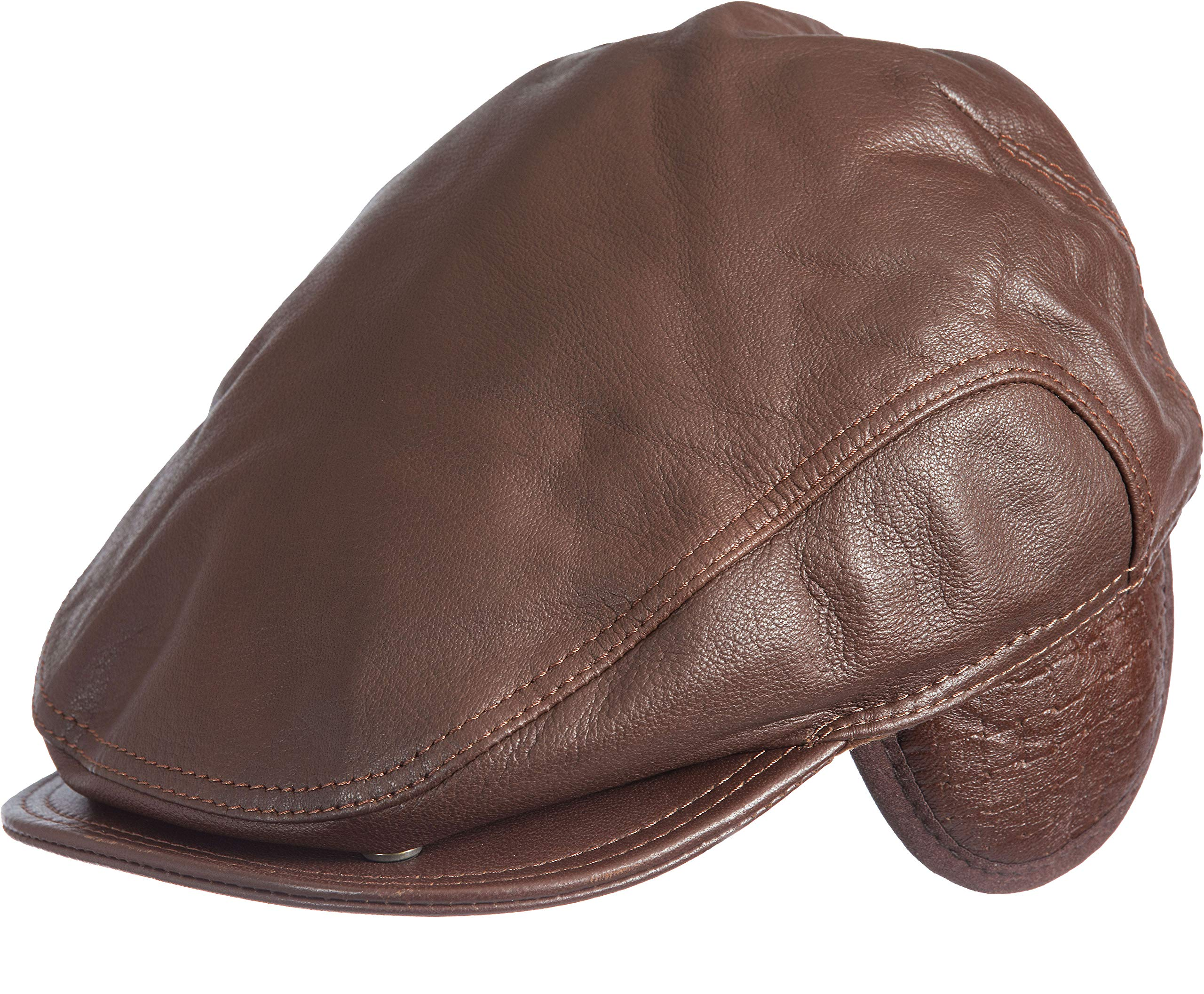 Allen Leather Ivy Cap with Shearling Earflaps Camel