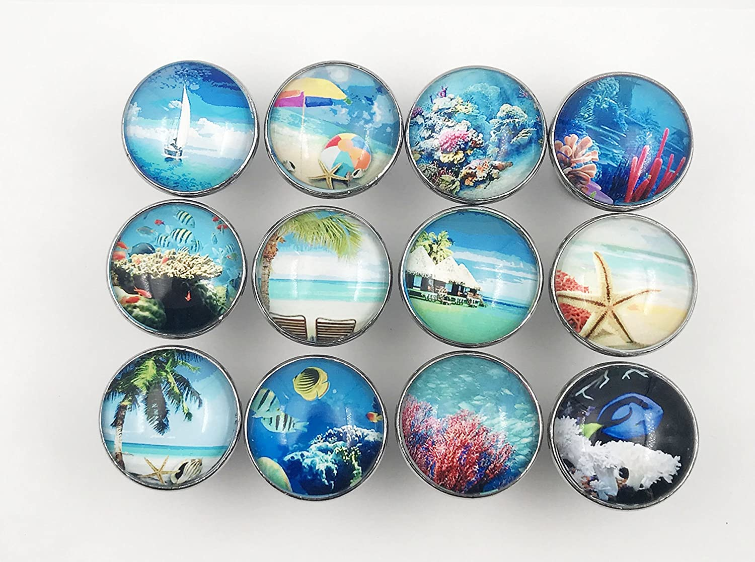 Tropical, Ocean, Fish, Nautical Glass Knobs, Drawer Pulls - 12 Pack